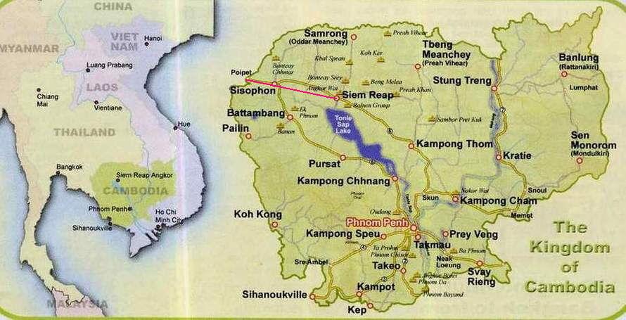 Где находиться камбоджи на карте